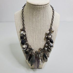 New York Co Beaded Necklace Gray Silver Tone State